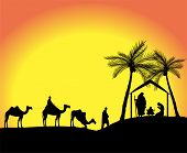 image of magi  - silhouette of the nativity scene with the three wise men in the desert - JPG