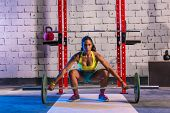 picture of barbell  - Barbell weight lifting woman weightlifting workout exercise gym - JPG