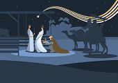 stock photo of three kings  - Nativity scene with the three wise men and the child Jesus - JPG