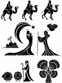 image of bible story  - nativity scene icon or shape set in black - JPG