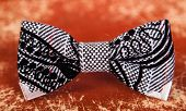 picture of bow tie hair  - bow tie with a black and white pattern - JPG