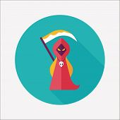 pic of grim-reaper  - Grim Reaper Flat Icon With Long Shadow - JPG