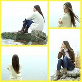 pic of lonely woman  - Collage of photos with lonely woman - JPG