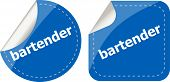 picture of bartender  - bartender word on stickers button set business label - JPG