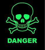 picture of skull crossbones  - Skull and crossbones danger sign over a black background - JPG