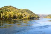 image of kan  - Autumn landscape with the river near the city of Kan Zelenogorsk - JPG