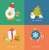 stock photo of christmas wreath  - Set of Christmas Icons - JPG