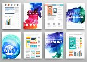 stock photo of shapes  - Set of Vector Poster Templates with Watercolor Paint Splash - JPG