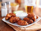 picture of chicken  - boneless buffalo bbq chicken wngs with ranch sauce and beer - JPG