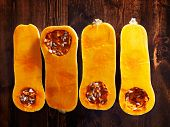 image of butternut  - butternut squash overhead photo of four halves - JPG