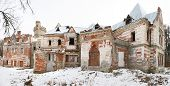 picture of mansion  - abandoned historic mansion in a winter day - JPG