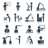 foto of engineering construction  - Engineering construction process factory production black icons set isolated vector illustration - JPG