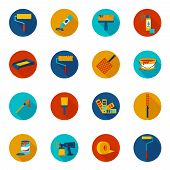 picture of spray can  - Painting house work painter tools icons colored set with spray tray bucket isolated vector illustration - JPG