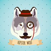 stock photo of moustache  - Animal wolf with monocle hat and moustache hipster portrait vector illustration - JPG