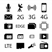 stock photo of micro-sim  - Mobile phone specification black icons - JPG