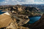 stock photo of upstream  - Views from Keban an old hydroelectric energy dam near ElazigTurkey - JPG