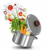stock photo of food preparation tools equipment  - fresh vegetables flying in a pot on an isolated white background - JPG