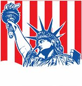 foto of torches  - statue liberty with torch on flag background - JPG