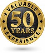 picture of experiments  - 50 years valuable experience gold label vector illustration - JPG