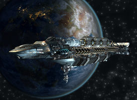 picture of spaceships  - Spaceship fleet leaving Earth as a 3D concept for futuristic interstellar deep space travel for sci - JPG