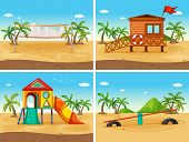 picture of beach hut  - beach and playground - JPG