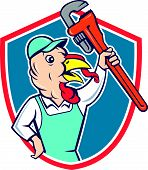 picture of clutch  - Illustration of a wild turkey plumber holding clutching monkey wrench looking to the side set inside shield crest done in cartoon style on isolated background - JPG