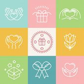 stock photo of outline  - Vector linear gift icons and logos  - JPG