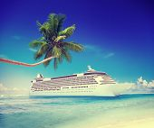 pic of passenger ship  - Cruise Ship Travel Beach Seascape Vacation Concept - JPG