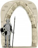 stock photo of knights  - Frame Illustration of a Knight Guarding the Entrance of a Castle - JPG