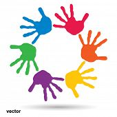 picture of friendship  - Vector concept or conceptual circle spiral of colorful hand prints made by children isolated on white background for paint - JPG
