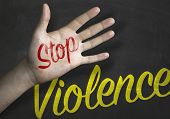 stock photo of stop fighting  - Stop Violence educacional message on blackboard  - JPG