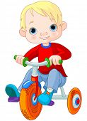 pic of tricycle  - Illustration very cute boy on tricycle - JPG