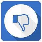 picture of dislike  - dislike blue flat icon thumb down sign  - JPG