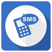 stock photo of sms  - sms blue flat icon phone sign  - JPG