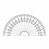 picture of protractor  - image of protractor vector isolated on white - JPG