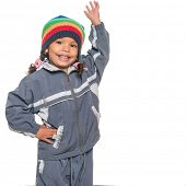 stock photo of beanie hat  - Cute and adorable multiracial little girl wearing a colorful beanie hat and a jacket - JPG