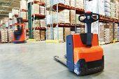 pic of pallet  - Manual forklift pallet stacker truck equipment at warehouse - JPG