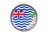 picture of indian flag  - Metal framed round button with flag of british indian ocean territory - JPG