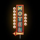 pic of motel  - Neon Sign Motel on wooden background with arrow - JPG
