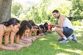picture of boot camp  - Fitness group planking in park with coach on a sunny day - JPG