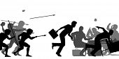 picture of interrupter  - Editable vector silhouettes of cavemen attacking a business meeting with all elements as separate objects - JPG