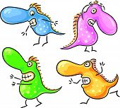 stock photo of germs  - Cartoon four scared monsters or germs - JPG