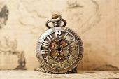 picture of clocks  - Vintage clock on antique map - JPG