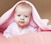 stock photo of naked children  - Baby under blanket - JPG