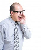 stock photo of yell  - Businessman yell with something - JPG