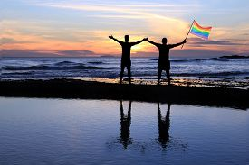 picture of gay pride  - Silhouette of a gay couple holding a rainbow pride flag at sunset - JPG