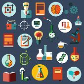 stock photo of scientist  - Science and research flat icons with scientist - JPG