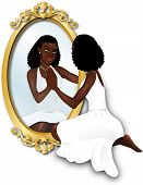 picture of cheval  - Vector Illustration of a woman seeing her reflection with confidence - JPG