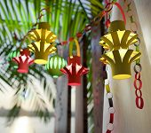 picture of sukkoth  - Decorations inside a Sukkah during the Jewish holiday celebration of Sukkoth - JPG