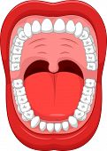 Постер, плакат: Cartoon Parts of Human mouth Open mouth and white healthy tooth with explaining